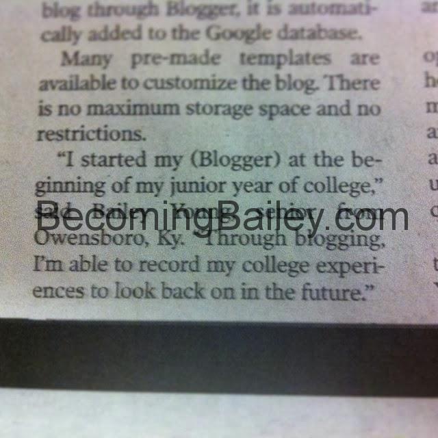 I'm in the newspaper!