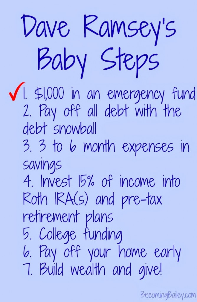 Financial Friday Dave Ramsey Baby Step One Complete Again